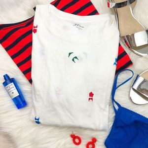 J. Crew White Embroidered Bikini Tee